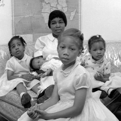 Malcolm X's Wife Betty Shabazz and his children, 1964